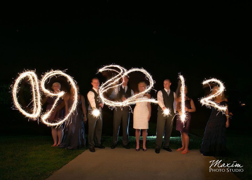Pebble creek golf club wedding, Bridal Party, sparkler image
