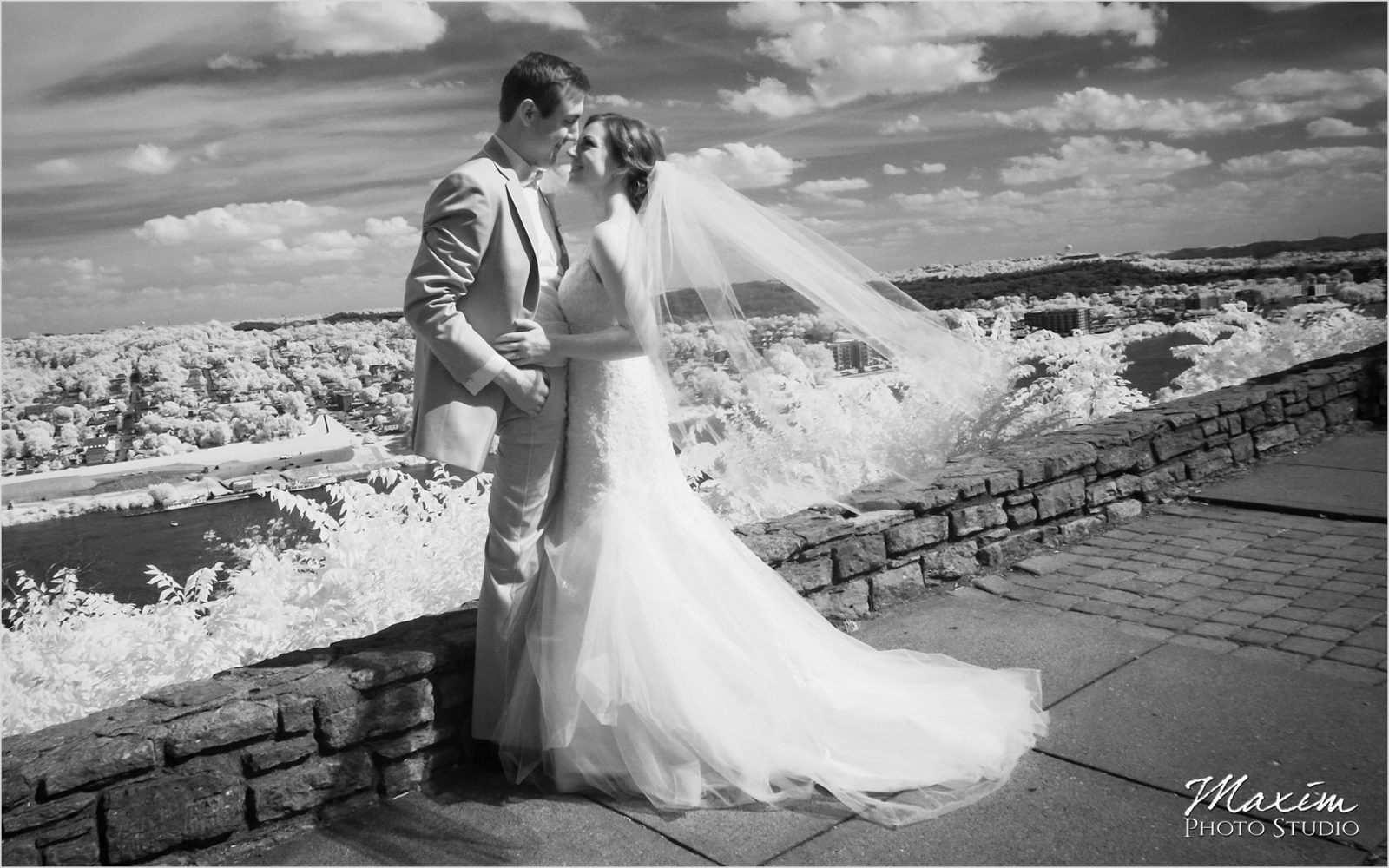 Cincinnati Wedding Photographers Eden Park Overlook bride groom