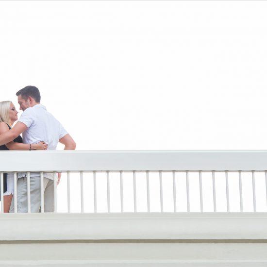 Fountain Square Cincinnati Wedding Engagement bridge picture