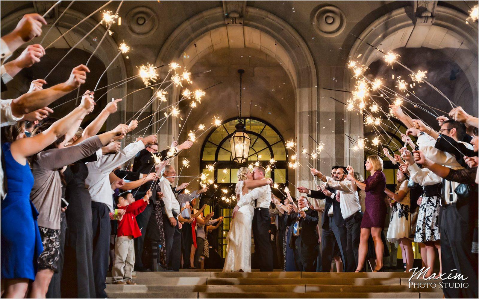 Columbus Wedding Photographers Art Museum wedding reception sparklers exit