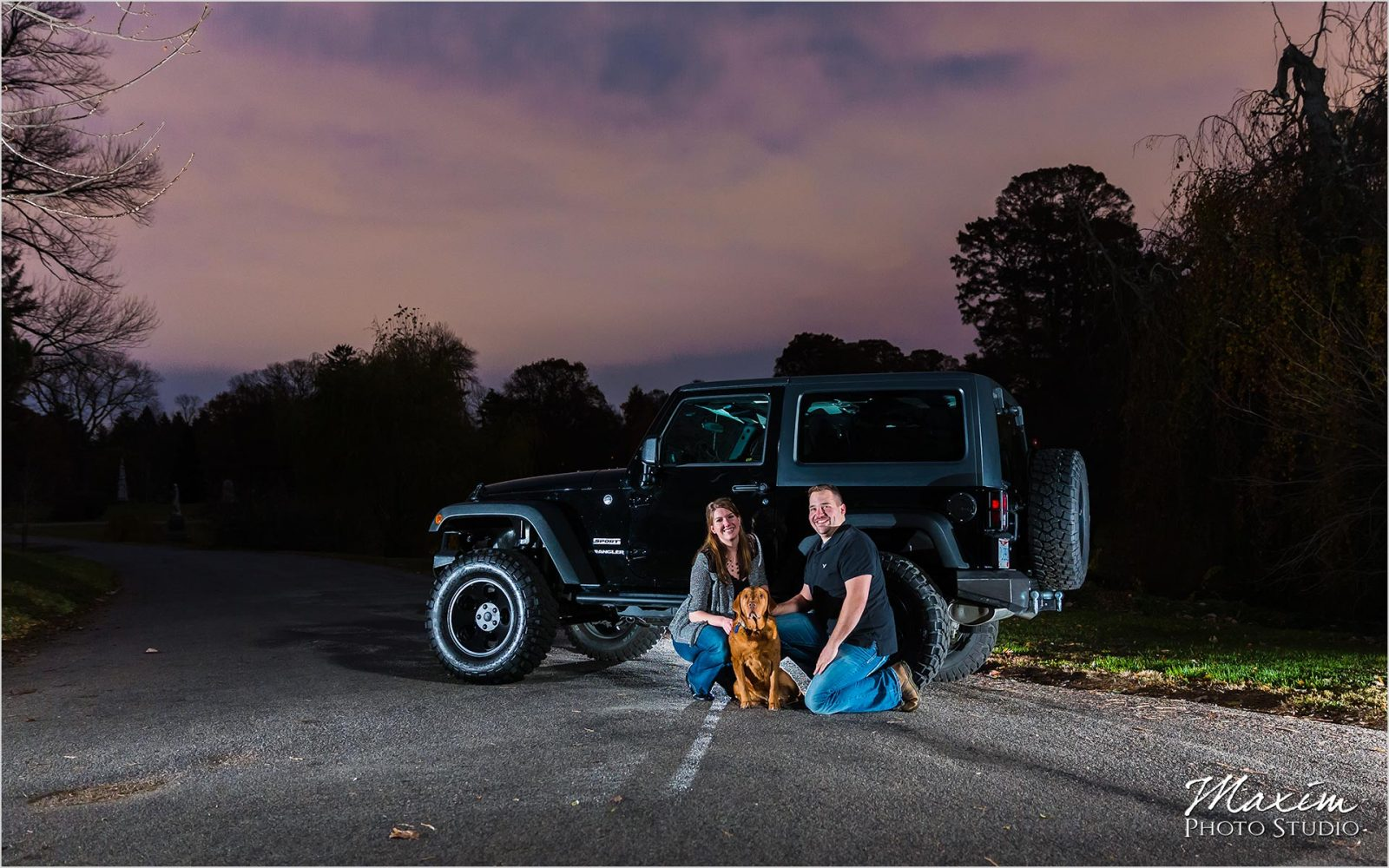 Spring Grove engagement Jeep dog sunset