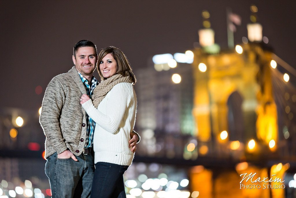 Roebling Bridge Cincinnati night engagement