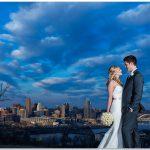 Cincinnati Wedding skyline bride groom