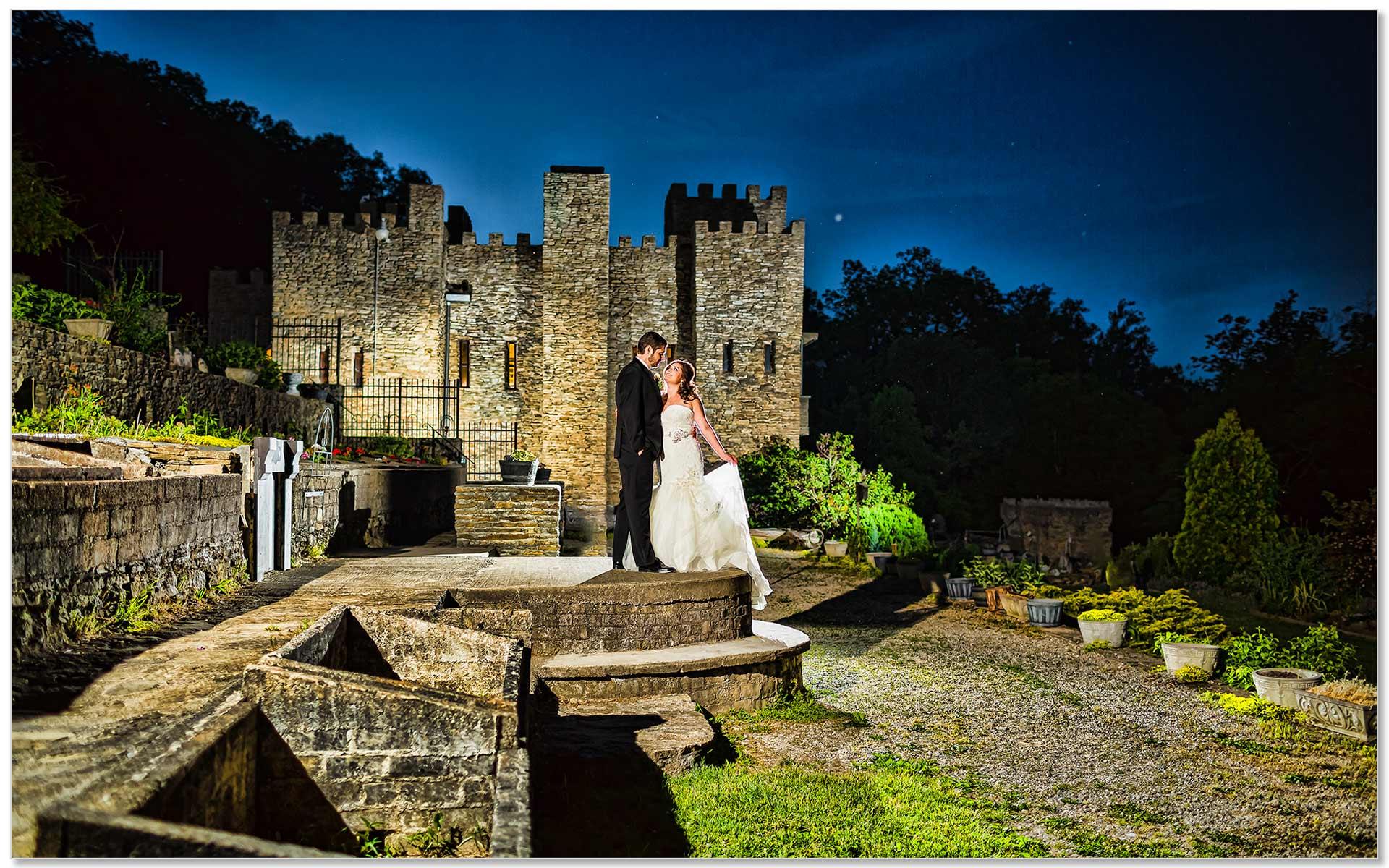 Night Loveland Castle Cincinnati Wedding Couple