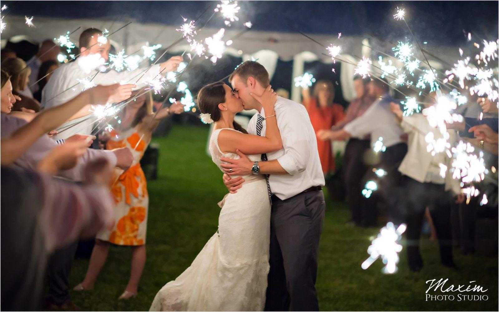 Potato Hill Farm Kentucky wedding reception sparklers