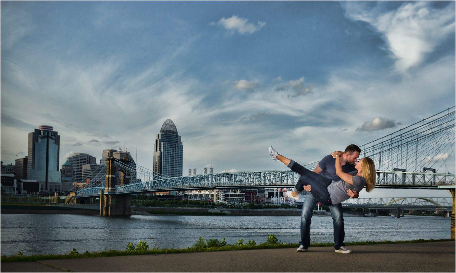 Roebling Bridge Cincinnati Downtown Engagement