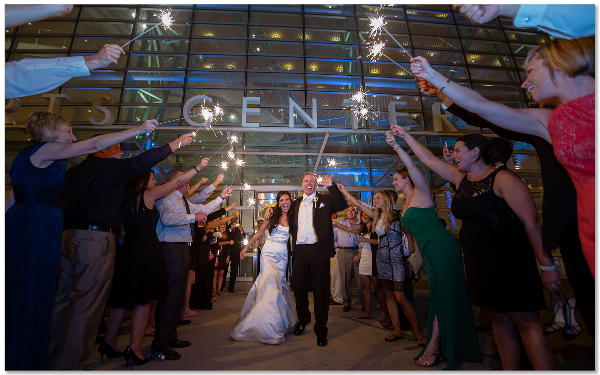 Schuster Center Wedding Dayton Ohio sparklers