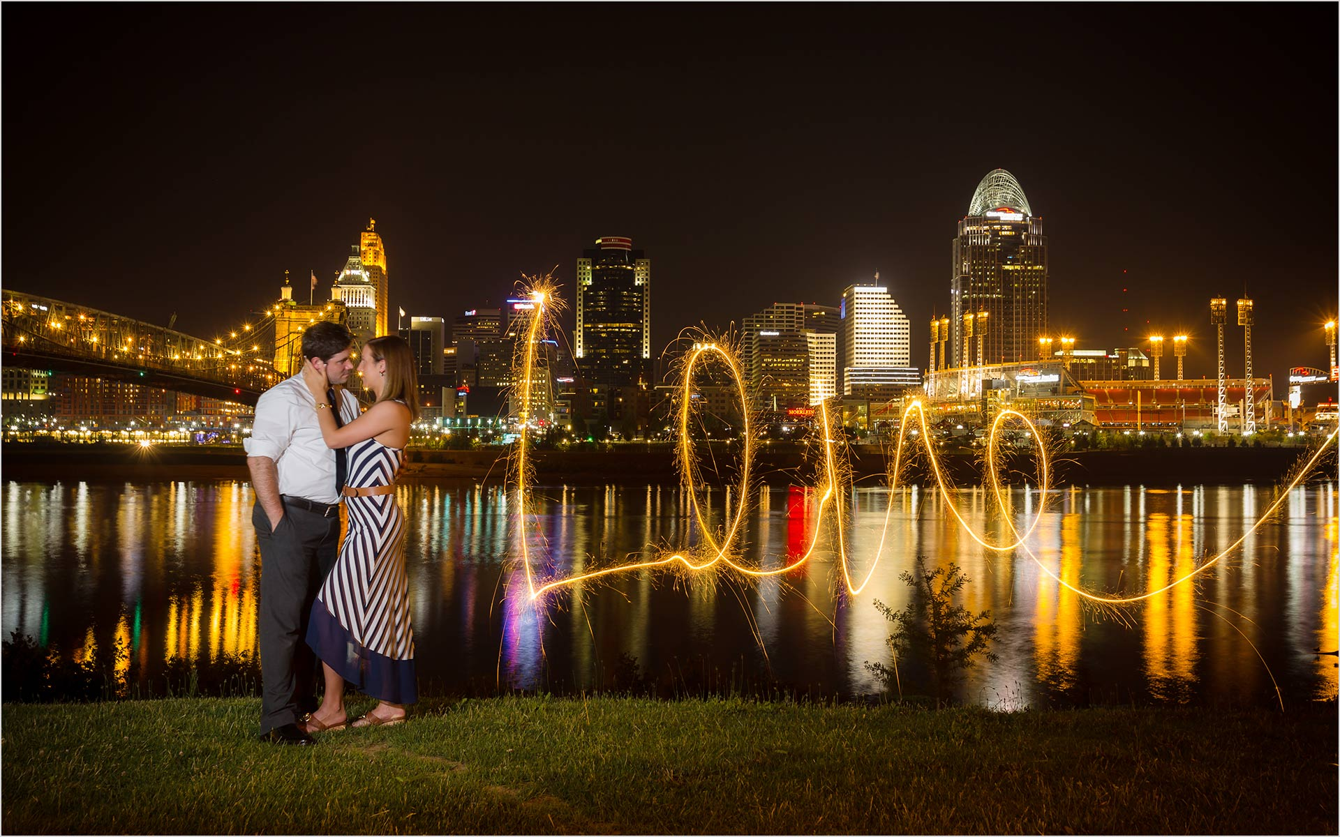 Cincinnati Skyline Love sparkler image engagement