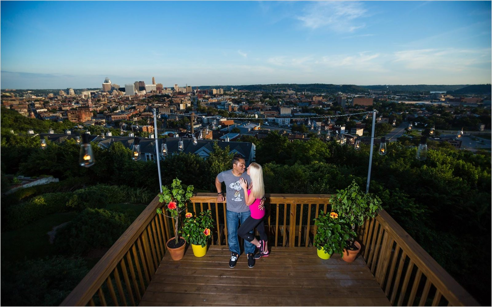 Cincinnati Wedding Photographers skyline night engagement