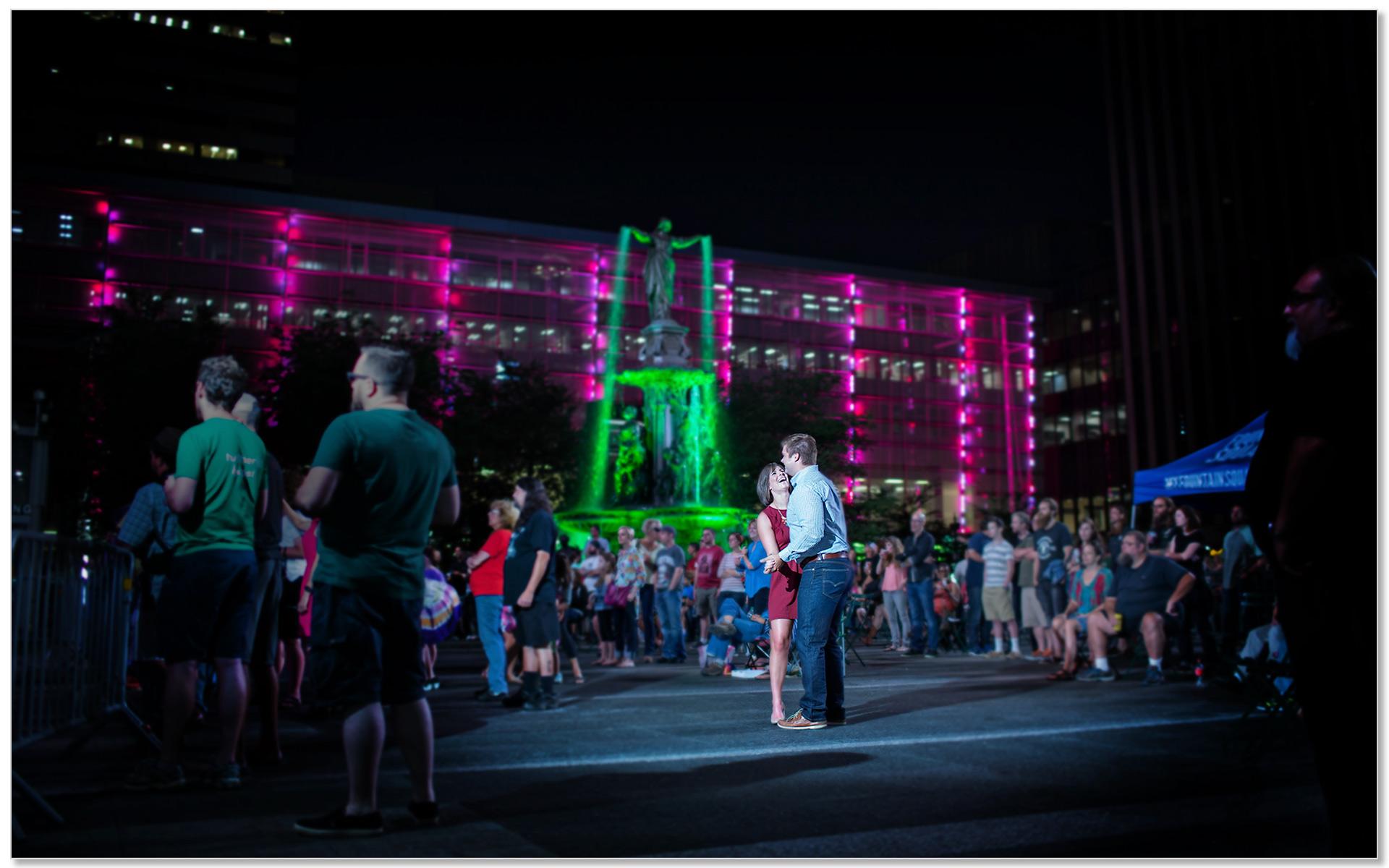 Fountain square cincinnati ohio night engagement