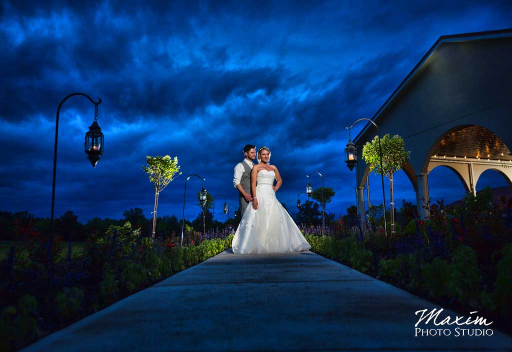 Cedar Springs Pavilion wedding sunset portrait