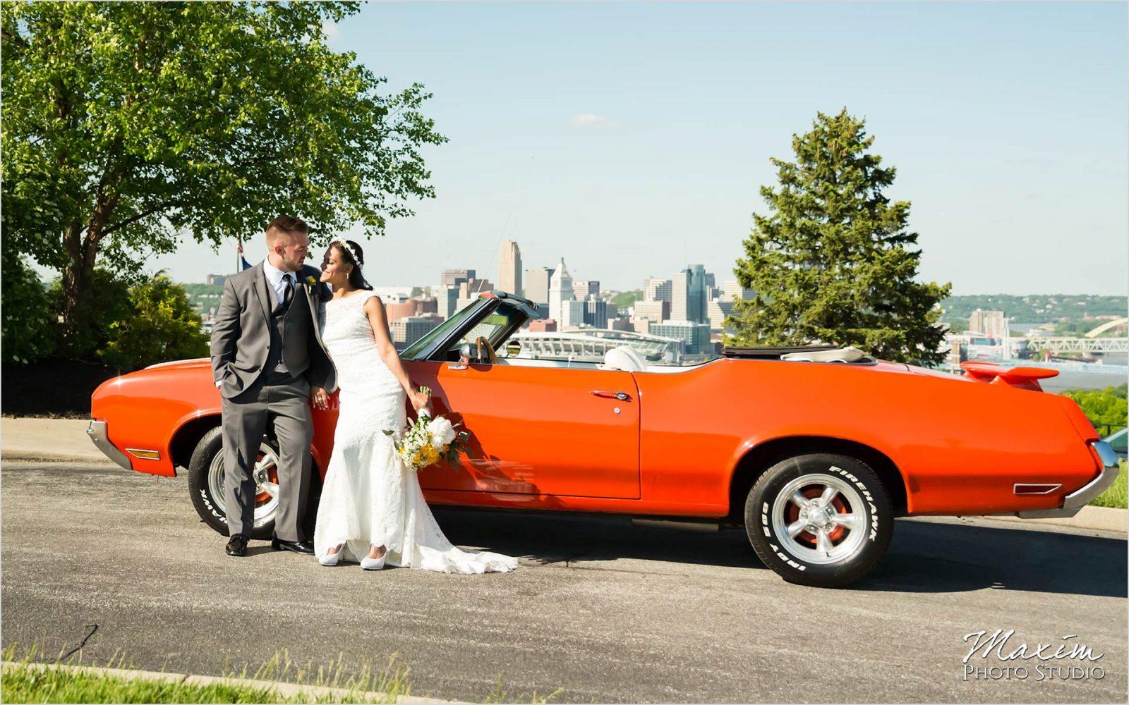 Drees Pavilion muscle car wedding cincinnati overlook