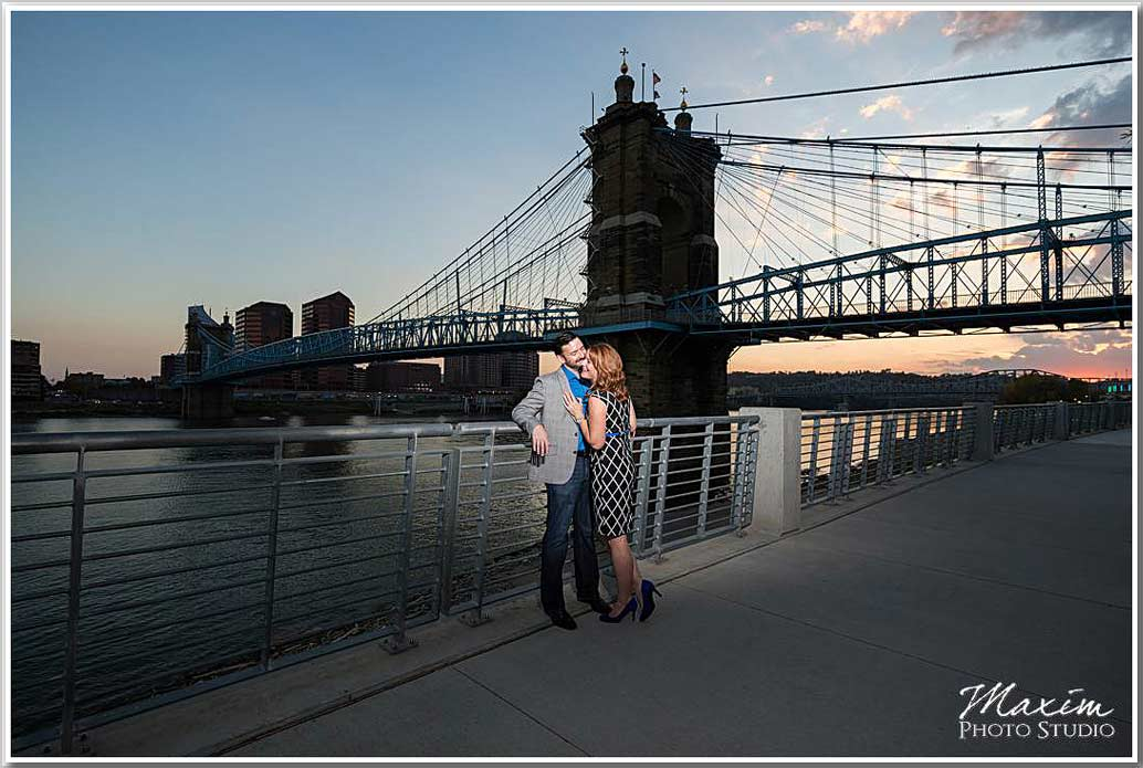 Roebling Bridge Cincinnati engagement
