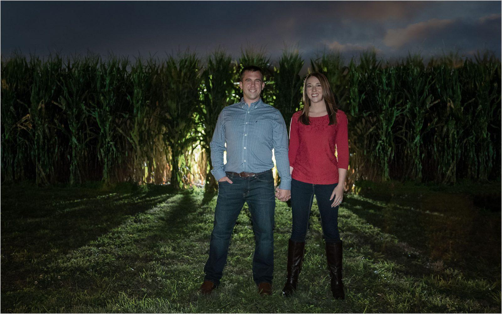 Ohio Farm Engagement, Night engagement, Off Camera Flash Photography