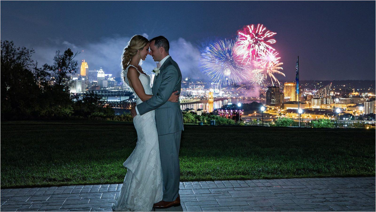 Drees Pavilion Cincinnati Skyline fireworks