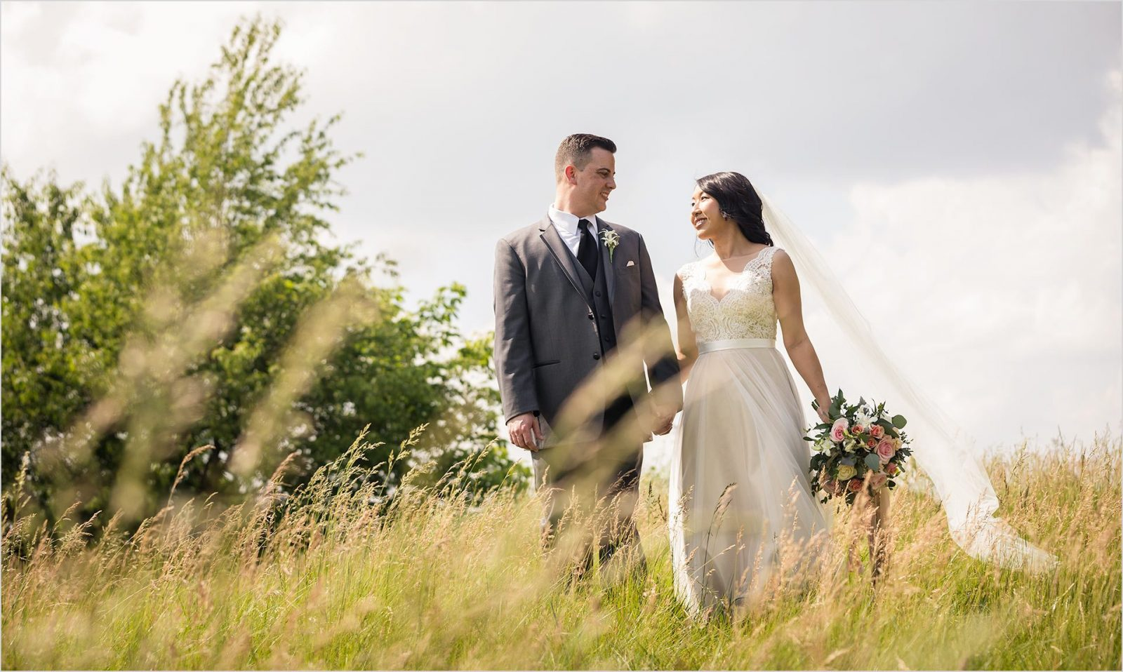 Four Bridges Country Club Wedding wheat field