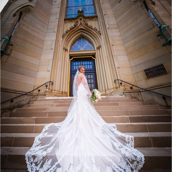St Xavier Church Cincinnati Bride wedding dress