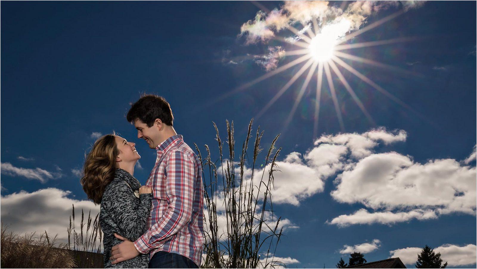 Cox Arboretum Dayton Engagement photos, sunburst