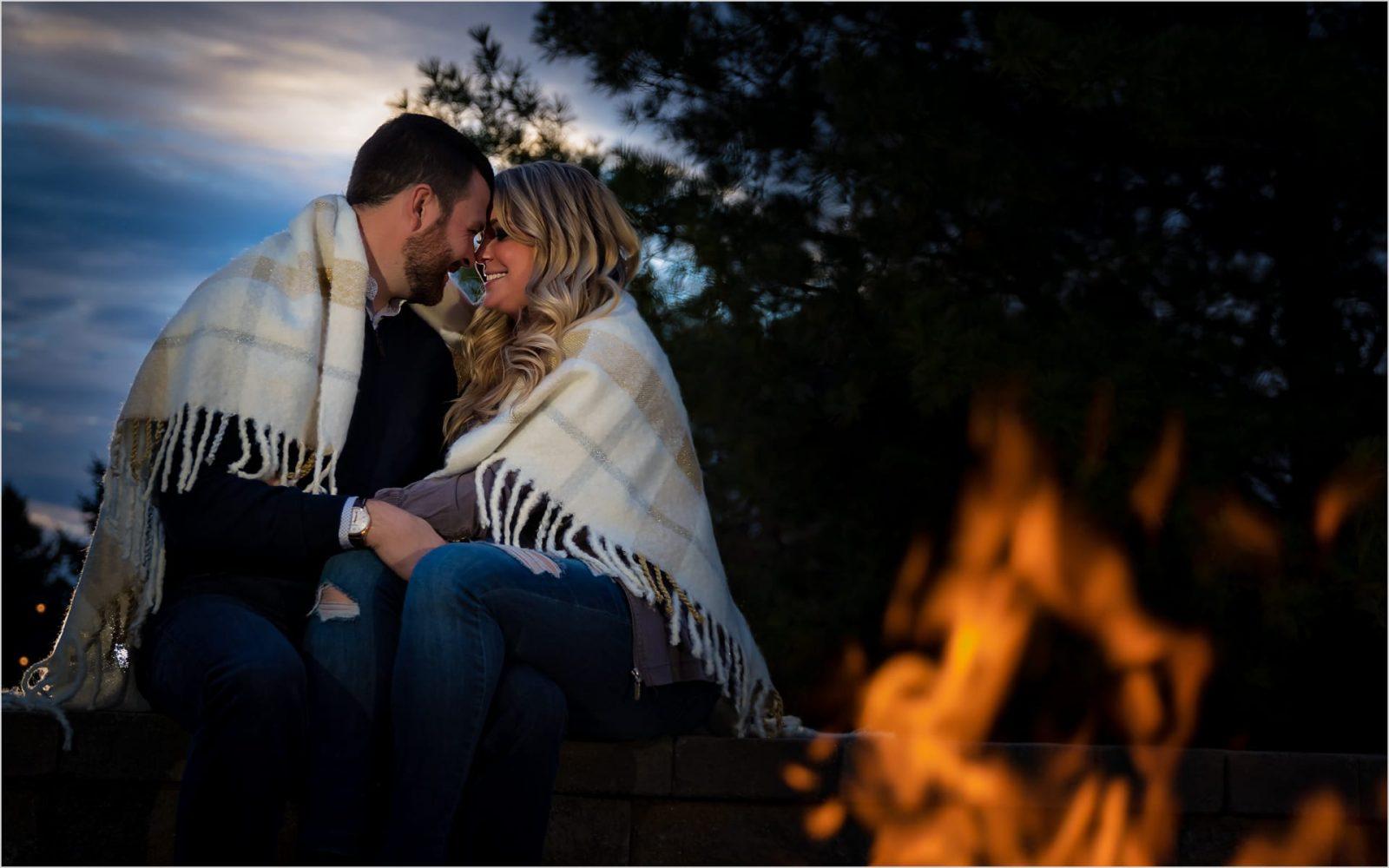 Dayton Engagement Photographer, Firepit, engagement Couple, Sunset engagement