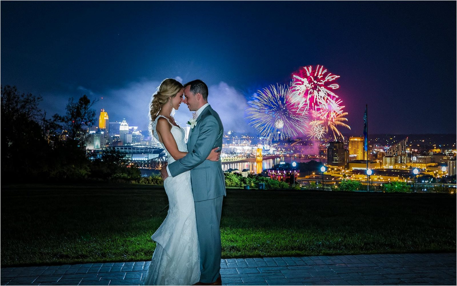 Best Cincinnati Wedding Photographer, Drees Pavilion, Cincinnati Skyline Wedding, fireworks