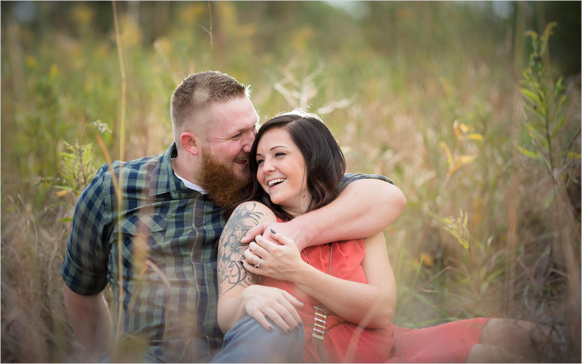Cox Arboretum Dayton Ohio engagement couple sitting