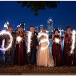 Cincinnati Mother of god wedding skyline sparklers